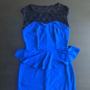 Blue Peplum Dress with Mesh Detail